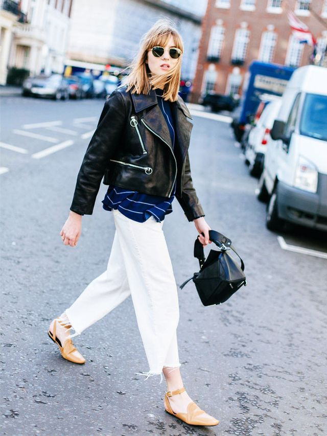 Manchester style: Lizzie Hadfield in white jeans