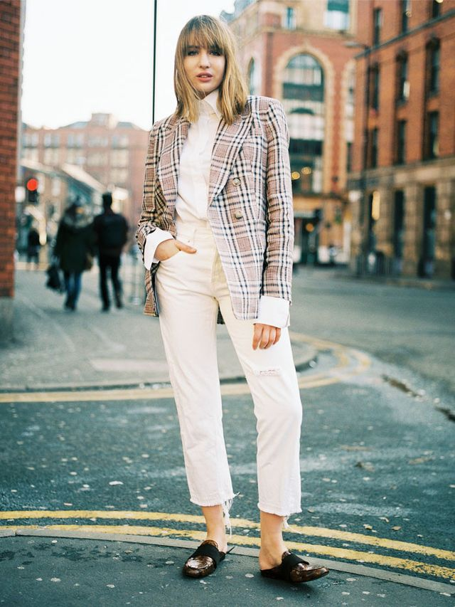 Manchester style: Lizzie Hadfield in blazer and white jeans