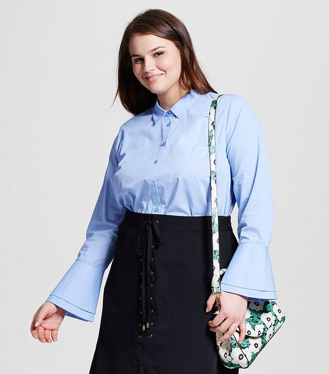 Who What Wear Women's Plus Size Layered Cuff Button-Up