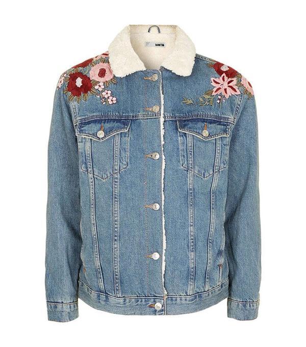 Topshop  Embroidered Western Denim Jacket