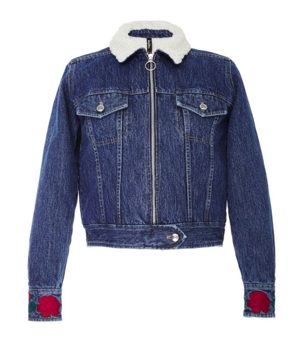 Adam Selman Shearling Denim Jacket