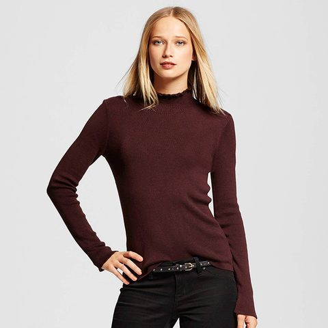 Women's Long Sleeve Ruffle Neck Sweater