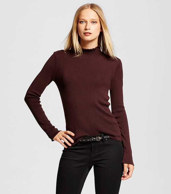 Who What Wear Women's Long Sleeve Ruffle Neck Sweater