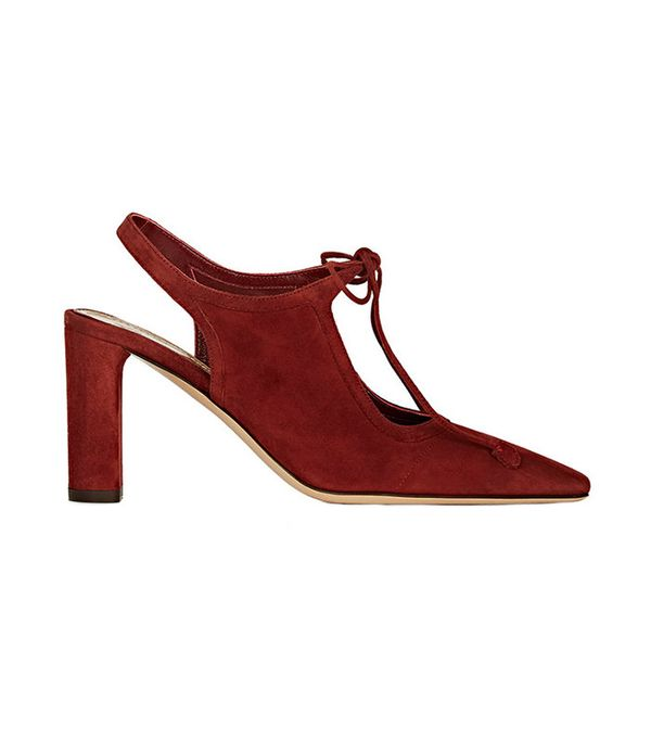 The Row Front-Tie Suede Pumps