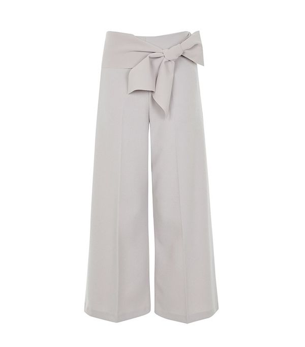 Topshop Tie Belt Crop Wide Leg Trousers