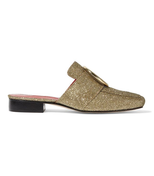 Dorateymur Petrol Metallic Textured-lamé Slippers