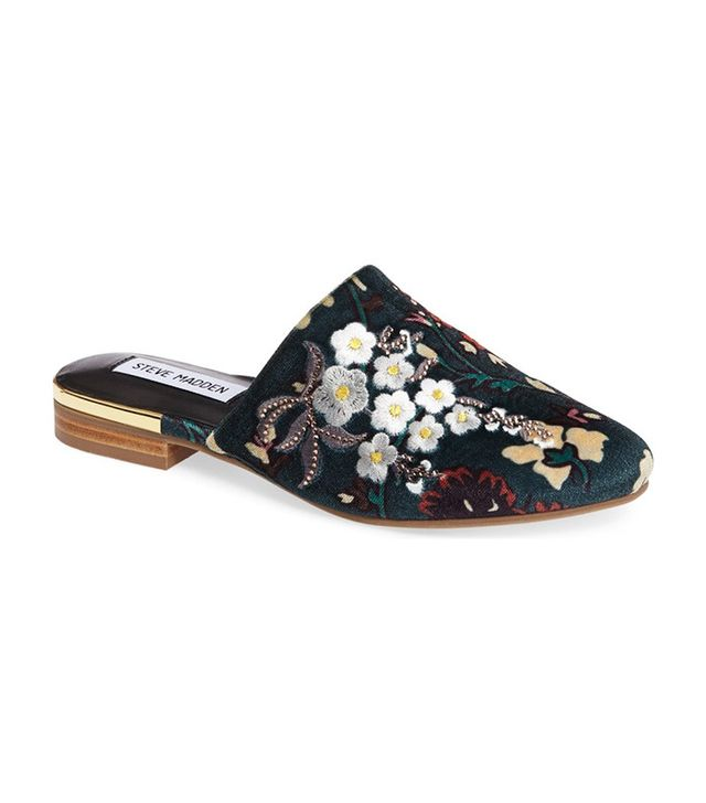 embroidered mule shoe