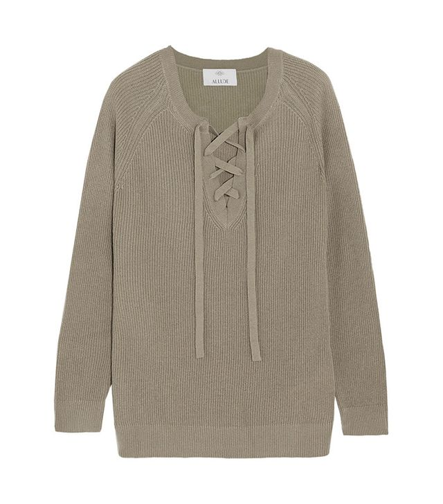 best green lace-up sweater