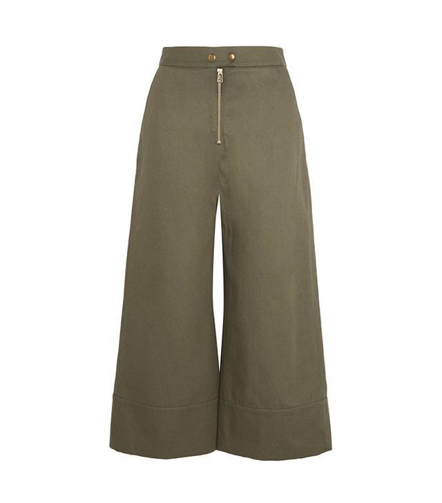 best green wide-leg pants