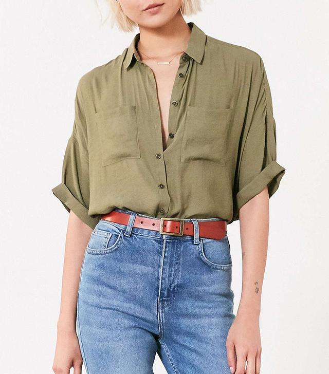 best green button-down shirt