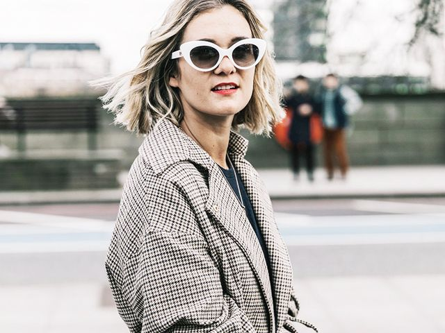 adenorah plaid coat white sunglasses