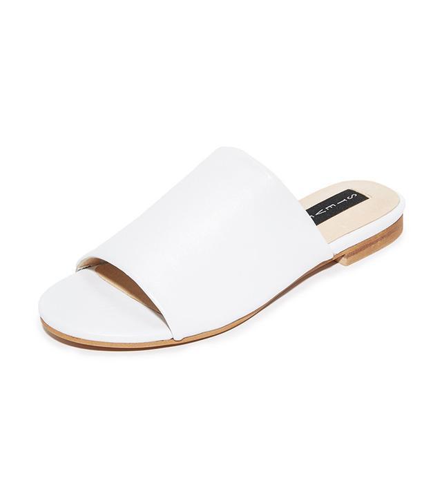 best white slide sandals