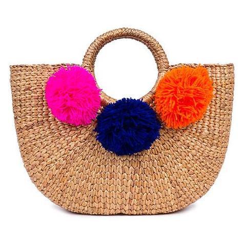 Beach Basket Small 3 Pom Multi