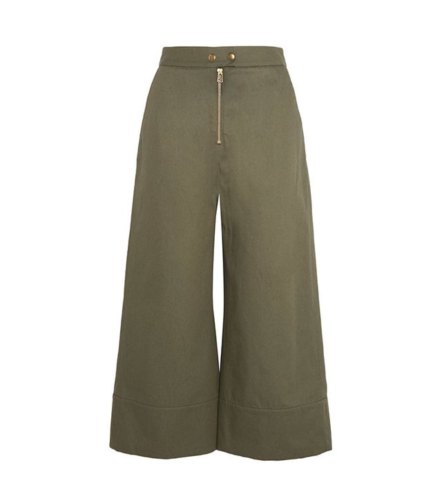 best green wide-leg pants