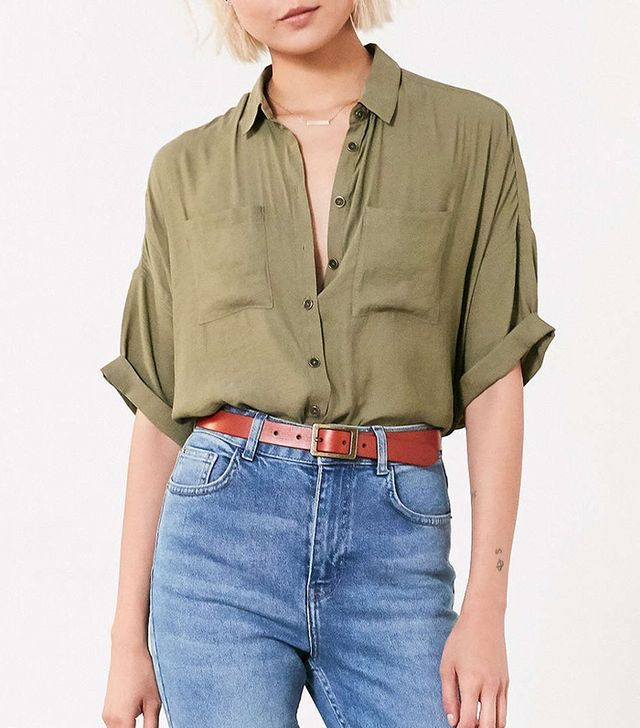 best green button-down shirt