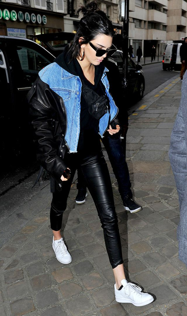 On Kendall Jenner: Balenciaga67 mm Sunglasses(£300); Unravel jacket; The Perfext Brittany Leggings (£625); Adidas Stan Smith Sneakers(£70).