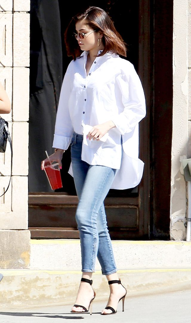 On Selena Gomez: Oliver Peoples x The Row Empire Suite Sunglasses (£440); Topshop Oversized Neppy Shirt (£32, available in Chambray).
