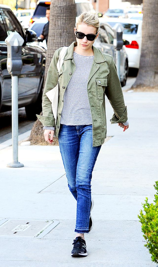 On Emma Roberts:American Eagle Outfitters Military Shirt Jacket (£56) (sold out—shop asimilar style); Citizens of Humanity Rocket Skinny Mid Rise Jeans(£240);...