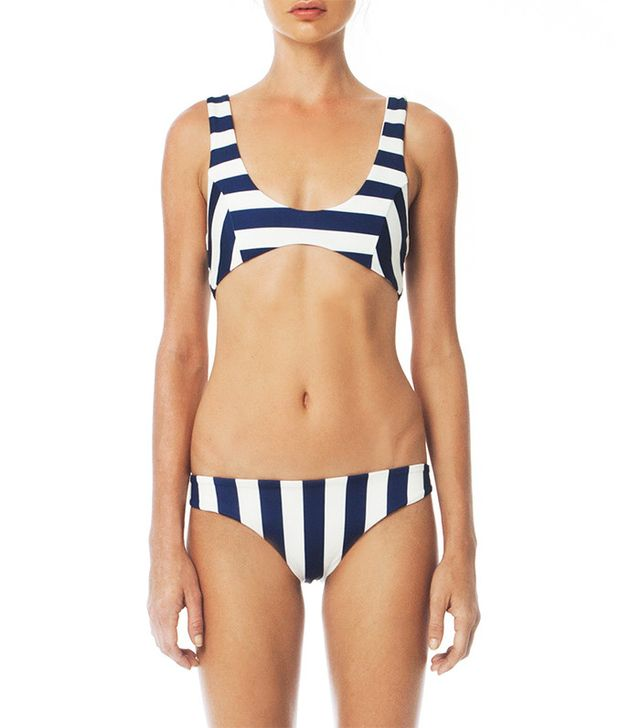 best navy and white striped swimsuits