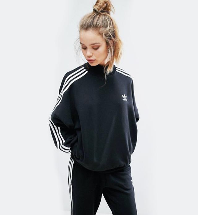 best sweatshirt—Adidas Black Three Stripe High Neck Sweatshirt