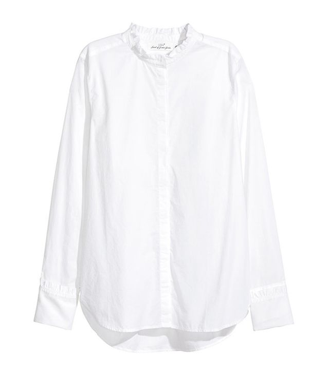 H&M Cotton Blouse With Ruffles