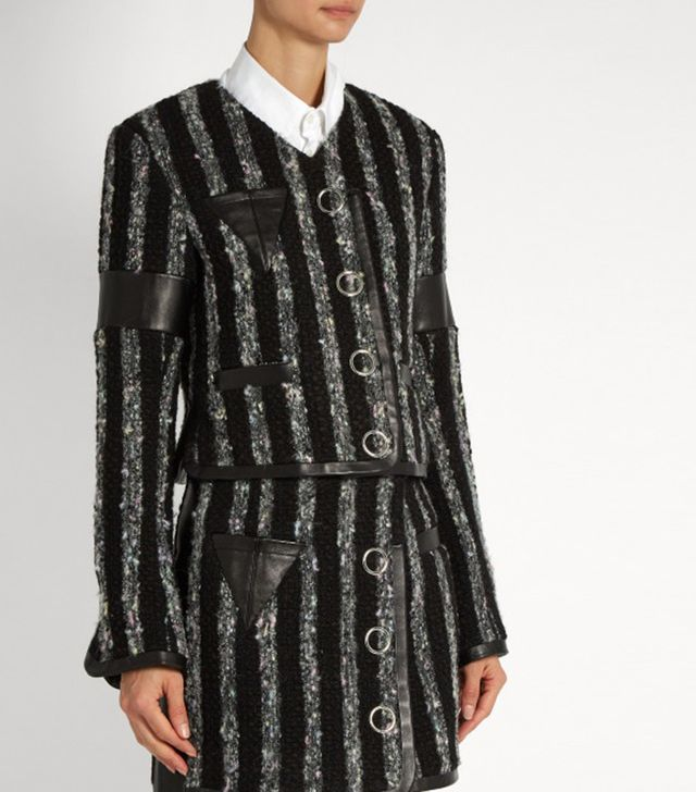 Alexander Wang Leather-Trimmed Tweed Cropped Jacket