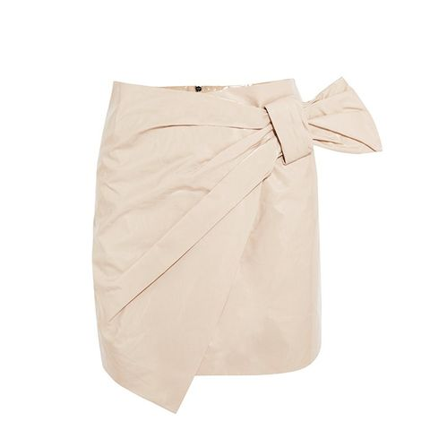 Anders Wrap-Effect Coated Cotton-Blend Mini Skirt