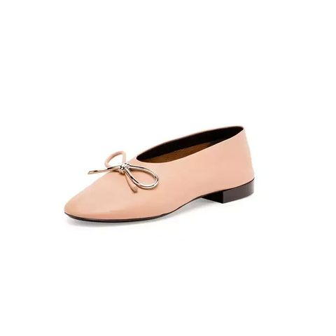 Leather Bow Ballerina Flat, Nude