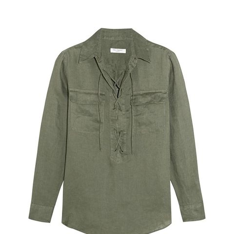 Knox Lace-Up Linen Shirt