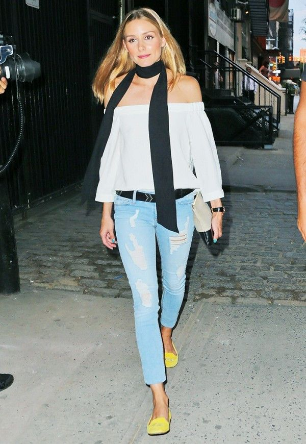 olivia palermo skinny jeans flat shoes