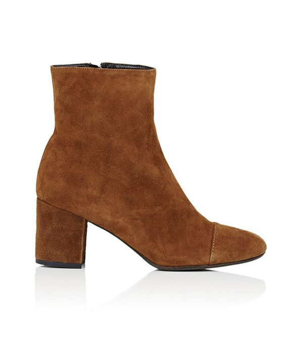 Barneys New York Cap-Toe Suede Ankle Boots