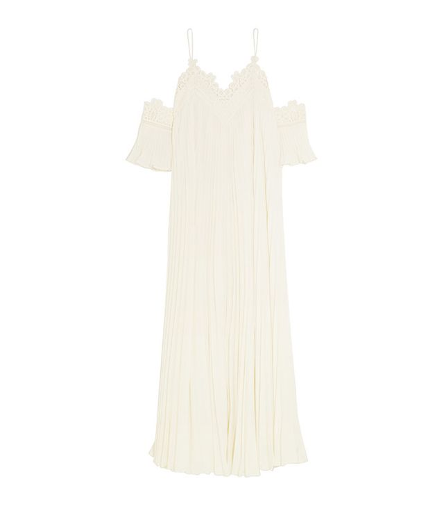 Lace-trimmed Chiffon Gown