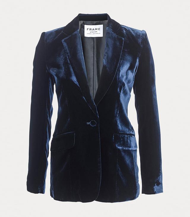 blue velvet blazer for women