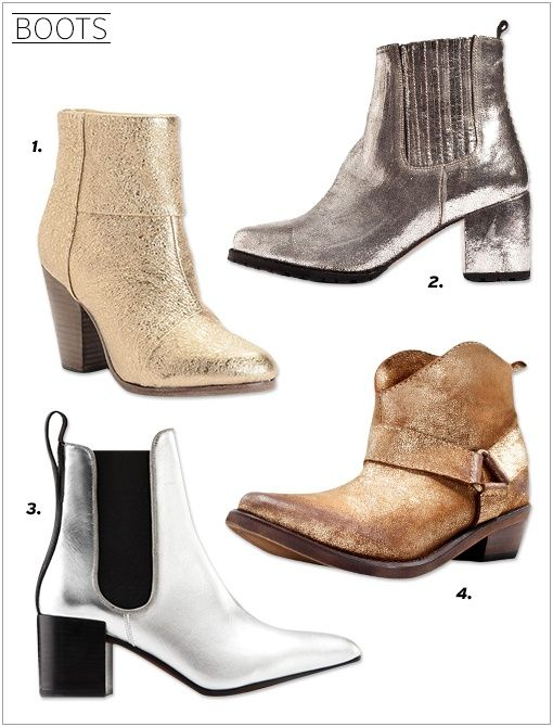 Rag & Bone Classic Newbury Boots ($275) in Gold Penelope and Coco Ivy Metallic Boots ($545) Acne Free Metal Boots ($378) in Silver Zara Metallic Ankle Boots ($50)