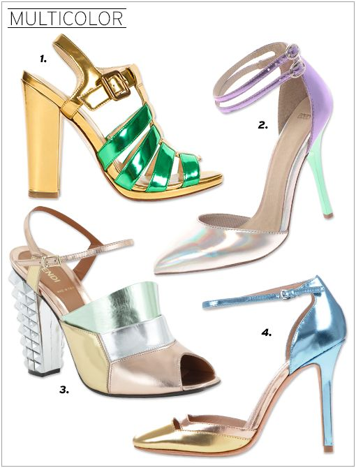 Cole Haan x Jen Brill & Olivia Kim Chelsea T-Strap Sandals ($430) ASOS PRIOR Metallic Pointed High Heels ($80) Fendi Runway Heels ($965, 212.759.4646, available in March) Jean-Michel Cazabat...