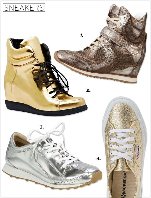 Kenneth Cole Rock-et Out Sneakers ($300) in Silver Modern Vice Metallic Urban Wrestler Sneakers ($250) in Gold Elizabeth and James Evva Metallic Leather Lace-up Sneakers ($275) Superga Sneakers...