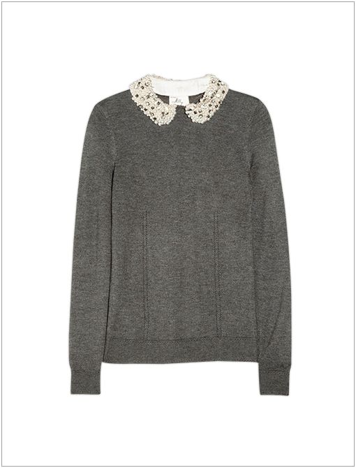 Embellished-Collar Jersey Sweater ($395)