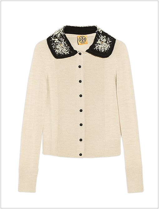 Bria Embellished-Collar Wool Cardigan ($395)