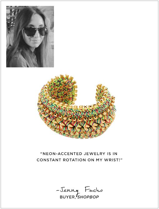 Arena Mexico Cuff ($230) in Neon MelangeImage courtesy of Jenny Fuchs; Image of cuff, courtesy of Shopbop