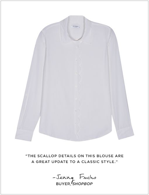 Brett Clean Scalloped Blouse ($274) in Bright WhiteImage courtesy of Shopbop