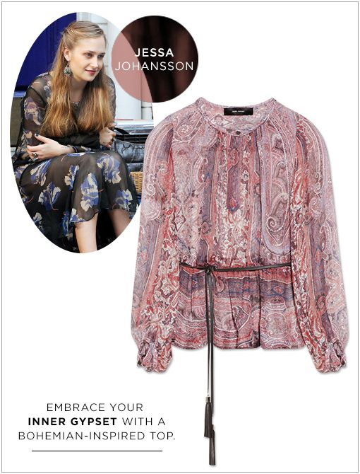 Shayne Belted Printed Silk-Gauze Top ($795) This English import's bohemian sensibilities are reflected in her free-spirited styling choices. Who could forget that Thunderdome-esque feather jacket...