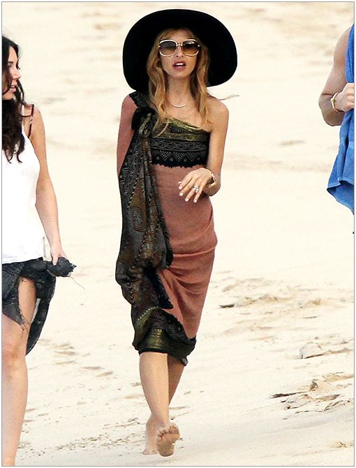 Location: St. BartsGet The Look: Staring at Stars Cross-Tie Floppy Felt Hat ($38)Image courtesy of Pacific Coast News