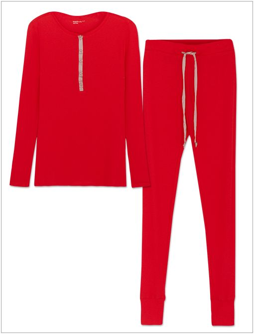 Soft & Cosy Ribbed PJ Set ($50) in Poster Red