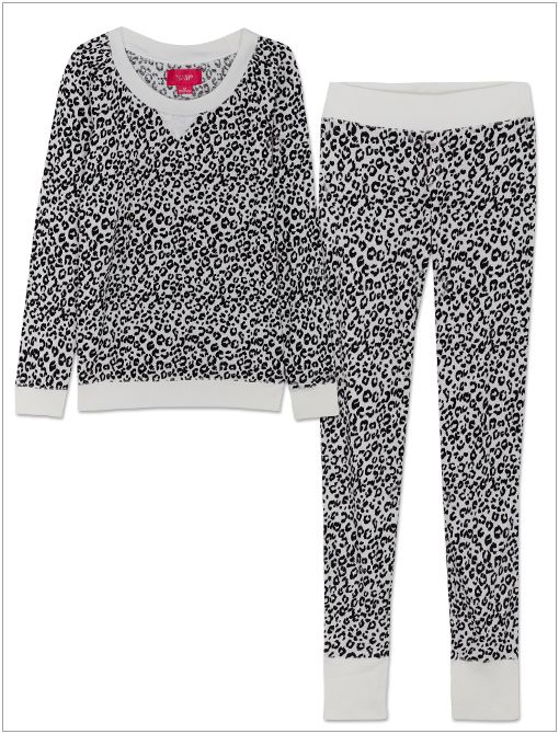 The Fireside Long Jane Pajamas ($40) in Black/White Animal