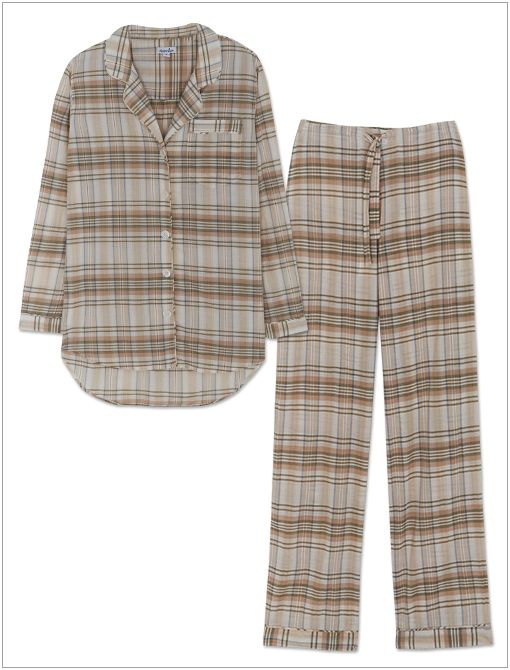Boyfriend PJ Top ($168) and PJ Pants ($158) in Pink Plaid Multicolor (available mid-to-late January)