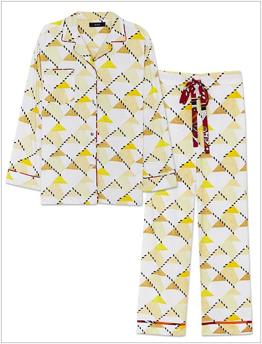 Button Down Pajamas ($165) in Geo Crosswalk