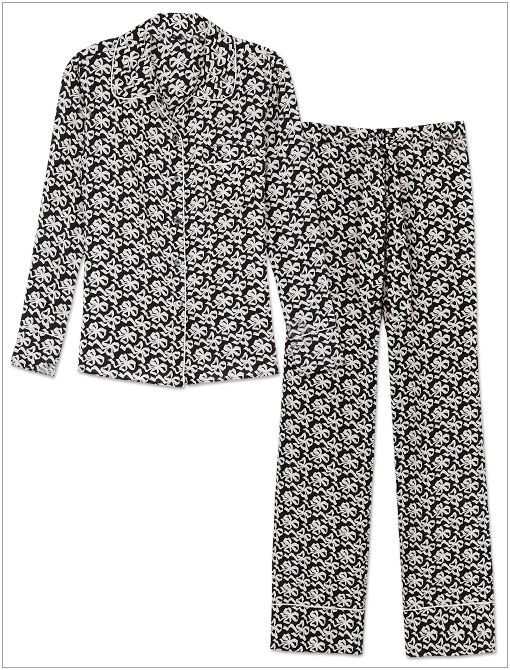 Silk Ribbon Bow-Print Pajama Shirt ($100) and Pants ($90)