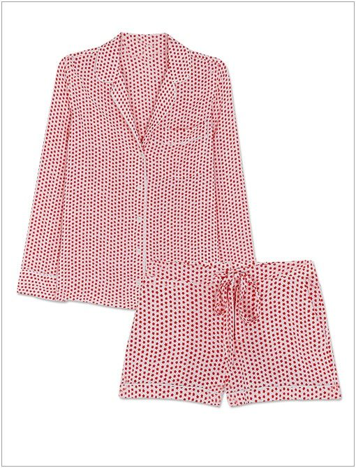 Lillian Pajama Set ($388) in Fiery Red