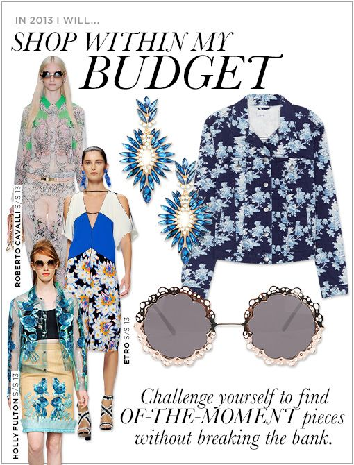 BaubleBar Azure Burst Drops ($32) Gap 1969 Blue Floral Denim Jacket ($70)  Urban Outfitters Love Lace Sunglasses ($18)Images courtesy of Roberto Cavalli, Etro, Getty Images