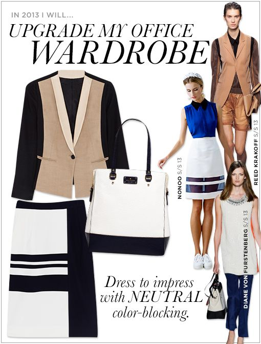 DKNY Color Blocked Jacket with Leather Shawl Collar ($495, 1.800.231.0884) kate spade new york Grove Court Thea Tote ($448) Preen Reta Skirt ($820) Images courtesy of Reed Krakoff, Nonoo, Diane...